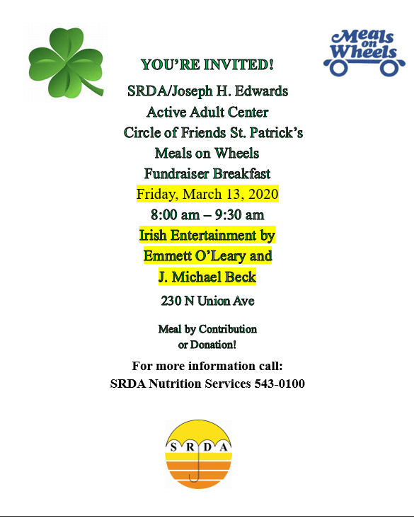 Meals on wheels St Patrick&#39s fundraising event